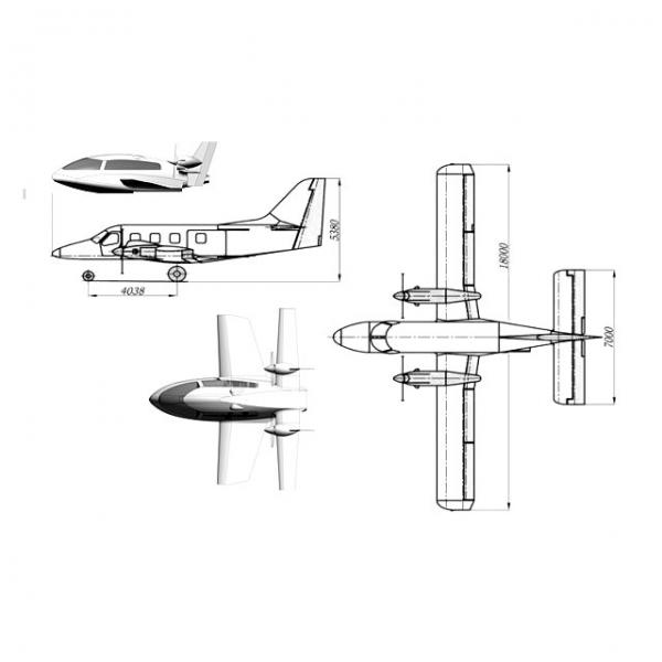 Сравнительные размеры с 10-местным самолетом