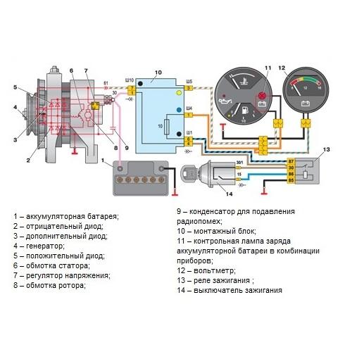 Схема подключения генератора ВАЗ-2107