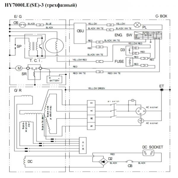 Схема генератора Hyndai HY7000LE-3